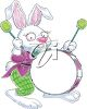 Clipart Image of the Easter Bunny Banging on a Drum