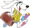 Clipart Image of the Easter Bunny going on Vacation