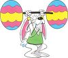 Clipart Image of the Easter Bunny Weightlifting