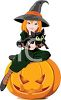 Halloween Clipart Image of a Witch and Her Cat