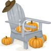 Thanksgiving Clipart Image of a Chair and Pumpkins