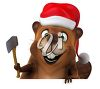 3D Christmas Clipart Image of a Beaver