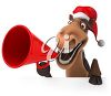 3D Christmas Clipart Image of Horse