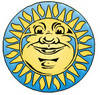 Yellow Sun With a Fat Face clipart