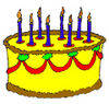 Free Clipart Picture of a Yellow Frosted Birthday Cake with Blue Candles