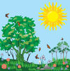 Free Clipart Picture of a Meadow Full of Butterflies on a Sunny Day