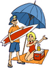 Teen Kids at the Beach clipart