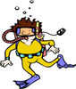 Free Clip Art Picture of a Man In a Scuba Diving Suit