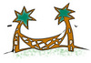 Free Clip Art Picture of a Hammock Between Two Palm Trees