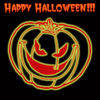 Free Clipart Picture of a Neon Yellow Jack O' Lantern