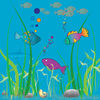 Free Clip Art Image of an Underwater Ocean Scene with Fishes and a Shark