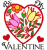 Free Valentine Clip Art of Stained Glass Heart -Be Mine Valentine