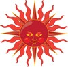 a clip art illustration of deep red sun with yellow eyes and mouth clipart