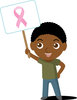 Clip Art Image Of An African American boy Holding A Breast Cancer Awareness Sign clipart