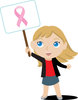 Clip Art Image Of A young Girl Holding A Breast Cancer Awareness Sign clipart