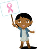 Clip Art Image Of An African American Girl Holding A Breast Cancer Awareness sign clipart