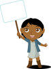 Clip Art Image Of An African American Child Holding A Blank Sign clipart