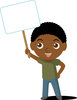 Clip Art Image Of An African American Boy Holding A Blank Sign clipart