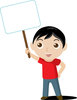 Clip Art Image Of A Young Boy Holding A Blank sign clipart