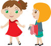 Clip Art Image Of Two Young Girls Trying On Clothes clipart
