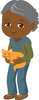 clip art image of an african American boy Holding A Cat clipart