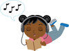 Clip Art Illustration Of An African American Girl Laying On The Floor Listening to Music In Headphones And Reading A book clipart