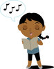 Clip Art Illustration Of A Reading Music And Singing Along clipart