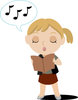 Clip Art Illustration Of A Girl Reading Music And Singing clipart