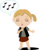 Image of A Girl Singing With Her Eyes Closed In A Vector Clip Art illustration clipart