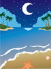 Clip Art Image Of A Tropical Beach Scene With A Half Moon Reflecting On The Water clipart