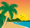 Clip Art Illustration Of A Tropical Beach On A Sunny Day  clipart