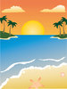 illustration of a tropical beach in the sunset clipart