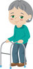 Illustration Of An Elderly Woman Walking With A Walker clipart