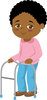 Illustration Of An African American Elderly Woman With  A Walker clipart