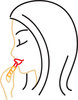 Clip art illustration of a woman putting on lipstick clipart