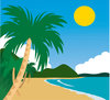 clip art illustration of a tropical beach clipart