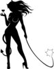 clip art silhouette of a sexy woman dressed in a devil costume holding a whip clipart
