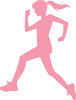 clip art pink silhouette of a girl running clipart