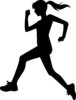 clip art silhouette of a woman jogging clipart