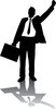 clip art illustration of a businessman holding a briefcase and has one arm in the air clipart