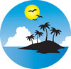 clip art image of a tropical island surrounded by water, with clouds and a full moon with birds flying over clipart