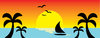 clip art illustration of a tropical beach with a sailboat on the water and the sun setting clipart