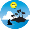 clip art image of a tropical island surrounded by water with a sailboat and a bright sun clipart
