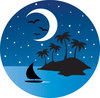 clip art image of a nighttime view of a tropical island with a half moon, sailboat, and bird flying clipart