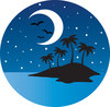 clip art image of a an island with birds, stars, and a half moon at dusk clipart