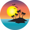 clip art image of a tropical island with a full moon  clipart