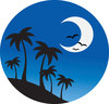 clip art image of palm trees on a hill with birds and a half moon clipart