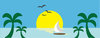 clip art image of a sail boat on the ocean with palm tree and a full moon clipart