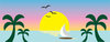 clip art image of a tropical scenery with a boat on the ocean, birds flying, palm trees, and the sun setting clipart