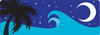 clip art image of a ocean waves in the evening with a half moon and palm tree clipart